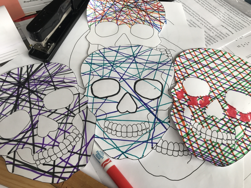 "Room18's skull ""line"" drawings"